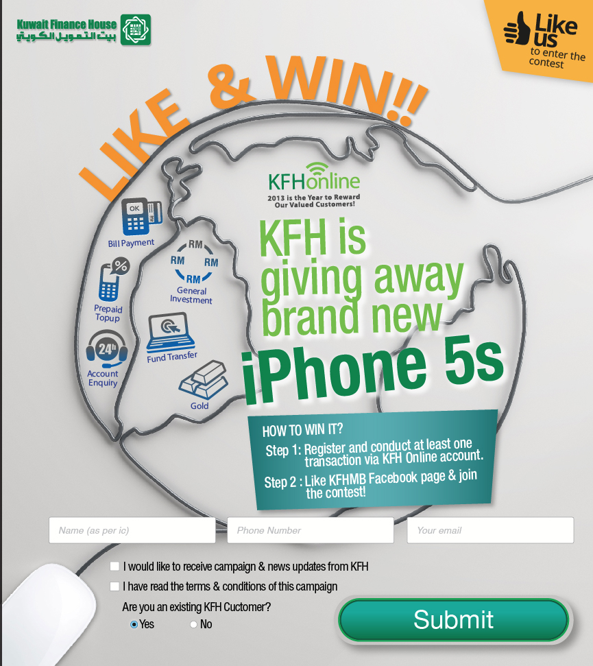 Kuwait Finance House Like & Win Facebook Contest