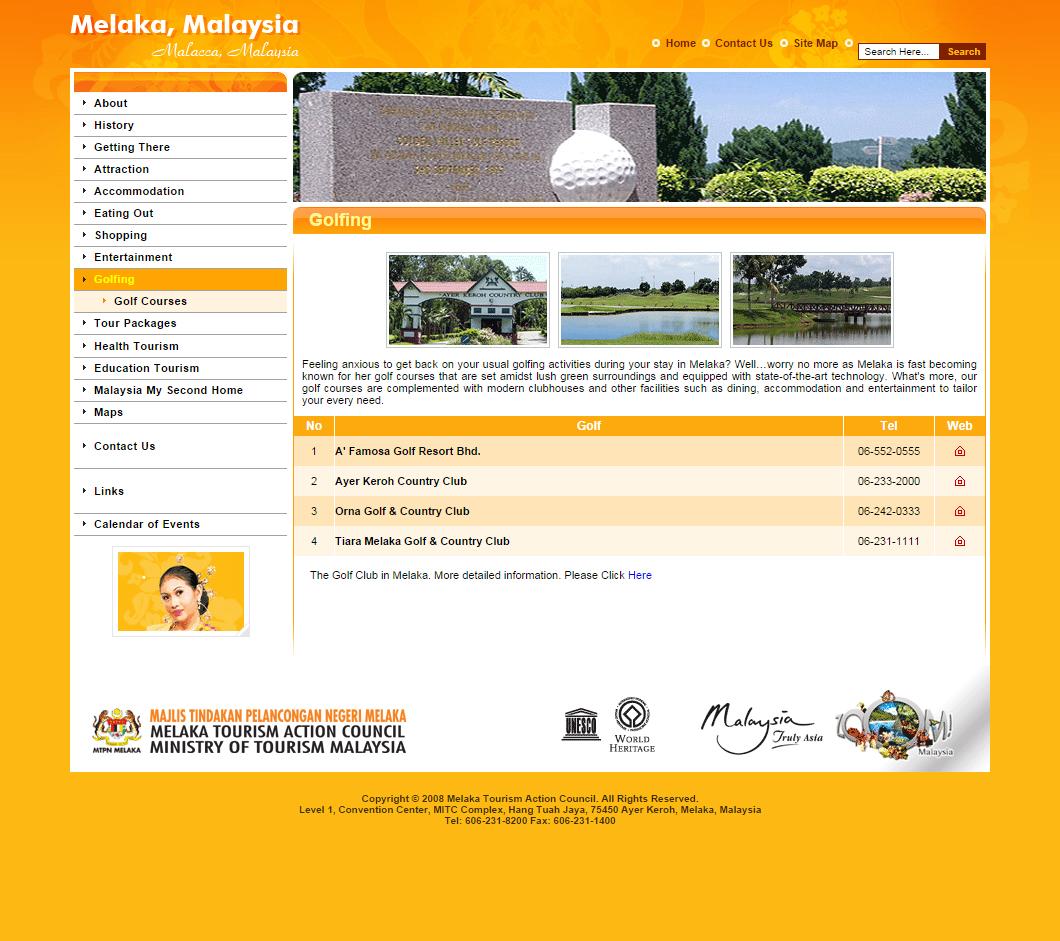 Melaka Tourism Website