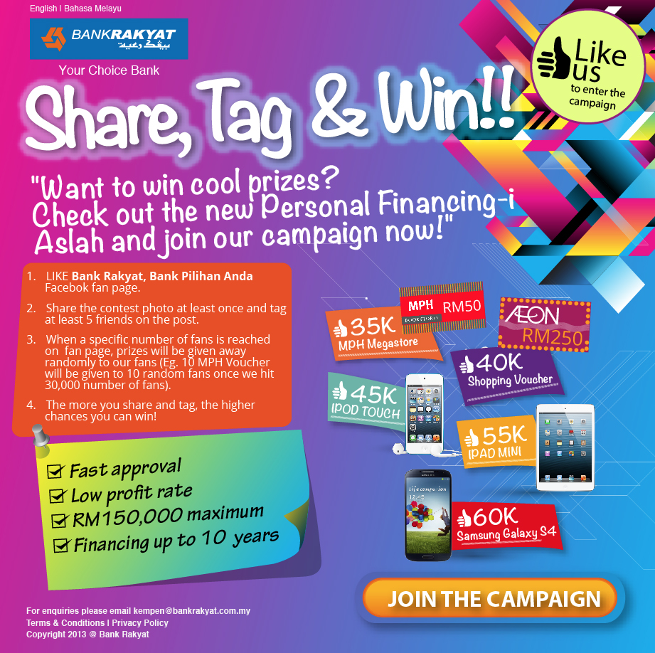 Bank Rakyat Share Tag & Win Facebook Contest